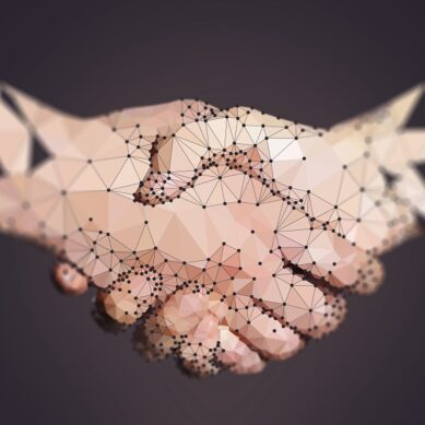 Polygon of Two High Tech Hands Handshaking