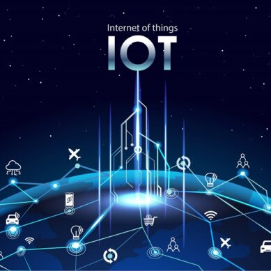 Internet of things (IOT), devices and connectivity concepts on a network, cloud at center. digital circuit board above global Earth.