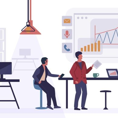 Data analysis concept. Office workers are studying the infographic. Teamwork of business analysts on holographic charts and diagrams of sales management statistics and operational reports