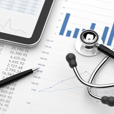 Stethoscope with financial statement digital tablet