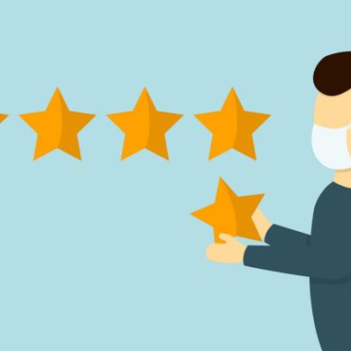 Customer gives rating five stars vector illustration. Man in the face mask give five stars rating